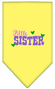 Little Sister Screen Print Bandana Yellow Large
