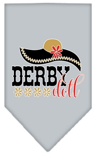Derby Doll Screen Print Bandana Grey Small