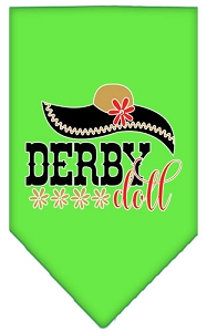 Derby Doll Screen Print Bandana Lime Green Large