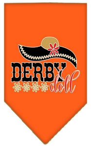 Derby Doll Screen Print Bandana Orange Small