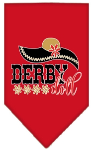 Derby Doll Screen Print Bandana Red Small