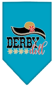 Derby Doll Screen Print Bandana Turquoise Small