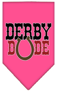 Derby Dude Screen Print Bandana Bright Pink Large