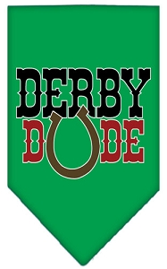 Derby Dude Screen Print Bandana Emerald Green Small
