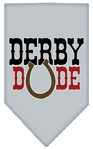 Derby Dude Screen Print Bandana Grey Small