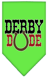 Derby Dude Screen Print Bandana Lime Green Large