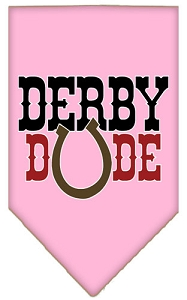 Derby Dude Screen Print Bandana Light Pink Large