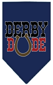 Derby Dude Screen Print Bandana Navy Blue large
