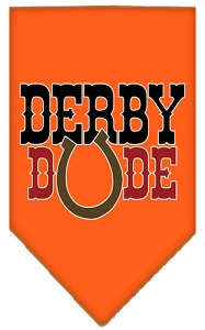 Derby Dude Screen Print Bandana Orange Large