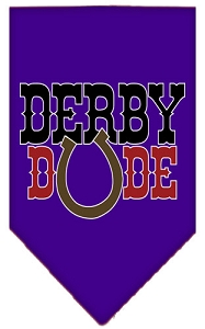 Derby Dude Screen Print Bandana Purple Small