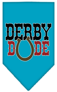 Derby Dude Screen Print Bandana Turquoise Large