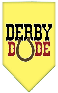 Derby Dude Screen Print Bandana Yellow Small