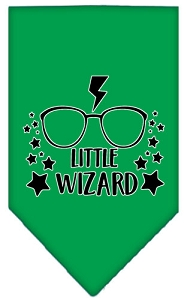 Little Wizard Screen Print Bandana Emerald Green Small