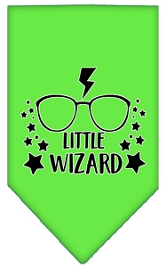 Little Wizard Screen Print Bandana Lime Green Large