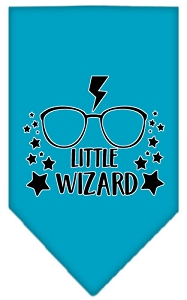 Little Wizard Screen Print Bandana Turquoise Small