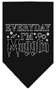 Everyday I'm Mugglin Screen Print Bandana Black Small