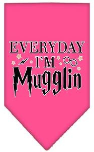 Everyday I'm Mugglin Screen Print Bandana Bright Pink Small