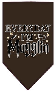 Everyday I'm Mugglin Screen Print Bandana Cocoa Large