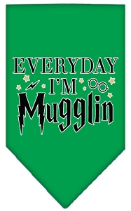 Everyday I'm Mugglin Screen Print Bandana Emerald Green Small