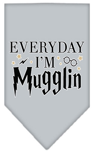 Everyday I'm Mugglin Screen Print Bandana Grey Small