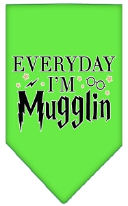 Everyday I'm Mugglin Screen Print Bandana Lime Green Large