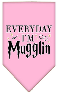 Everyday I'm Mugglin Screen Print Bandana Light Pink Large