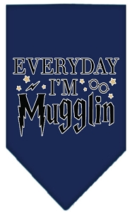 Everyday I'm Mugglin Screen Print Bandana Navy Blue large