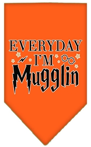 Everyday I'm Mugglin Screen Print Bandana Orange Large
