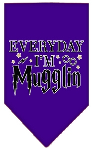 Everyday I'm Mugglin Screen Print Bandana Purple Small