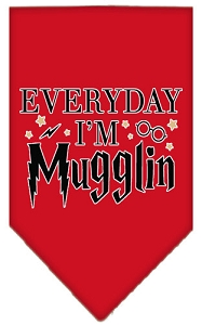 Everyday I'm Mugglin Screen Print Bandana Red Small