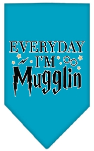 Everyday I'm Mugglin Screen Print Bandana Turquoise Large