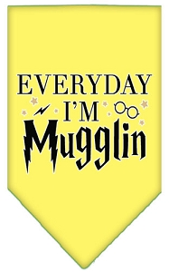 Everyday I'm Mugglin Screen Print Bandana Yellow Small