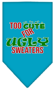 Too Cute for Ugly Sweaters Screen Print Bandana Turquoise Large