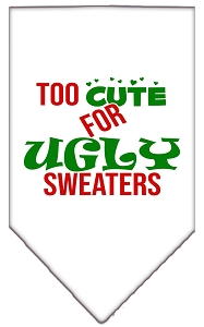 Too Cute for Ugly Sweaters Screen Print Bandana White Small