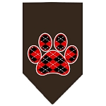 Argyle Paw Red Screen Print Bandana Cocoa Small