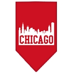 Chicago Skyline Screen Print Bandana Red Large
