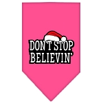 Dont Stop Believin Screen Print Bandana Bright Pink Small