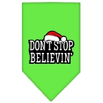 Dont Stop Believin Screen Print Bandana Lime Green Small
