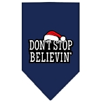 Dont Stop Believin Screen Print Bandana Navy Blue Small