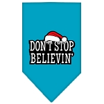 Dont Stop Believin Screen Print Bandana Turquoise Small