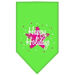 Scribble Happy Holidays Screen Print Bandana Lime Green Small