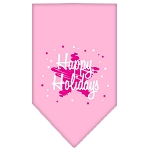 Scribble Happy Holidays Screen Print Bandana Light Pink Large