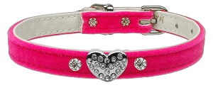Clear Puffy Heart One Charm Dog Collar Pink Velvet Size 16