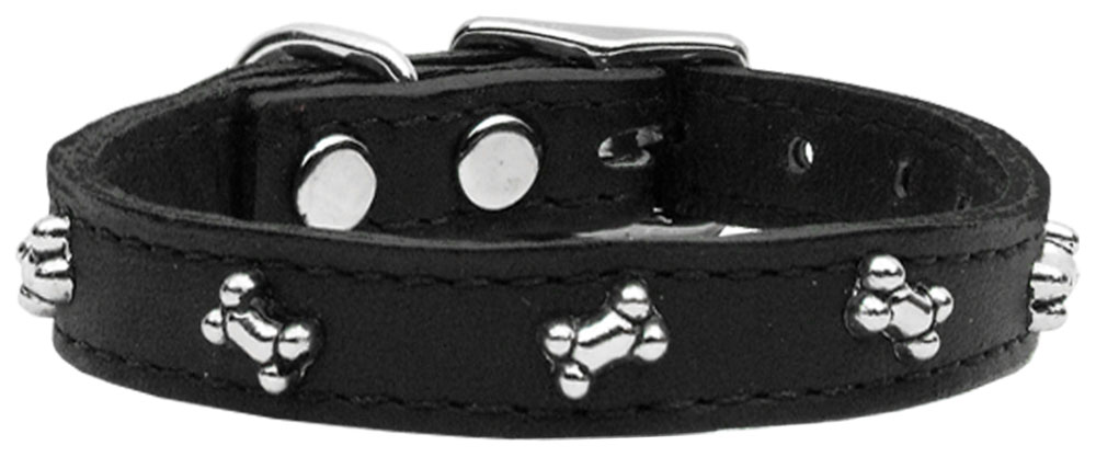 Bone Leather Dog Collar Black 16