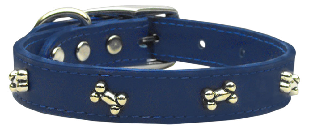 Bone Leather Dog Collar Blue 20