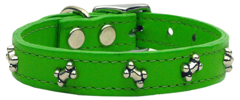 Bone Leather Dog Collar Emerald Green 18