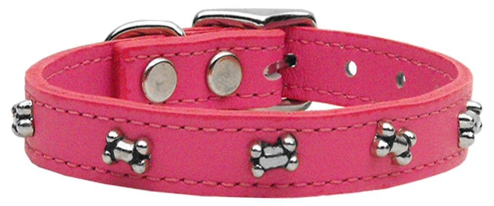 Bone Leather Dog Collar Pink 22