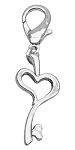 Chrome Lobster Claw Charm Heart Key
