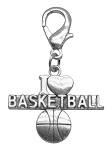 Chrome Lobster Claw Charm I Heart Basketball