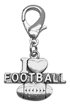 Chrome Lobster Claw Charm I Heart Football